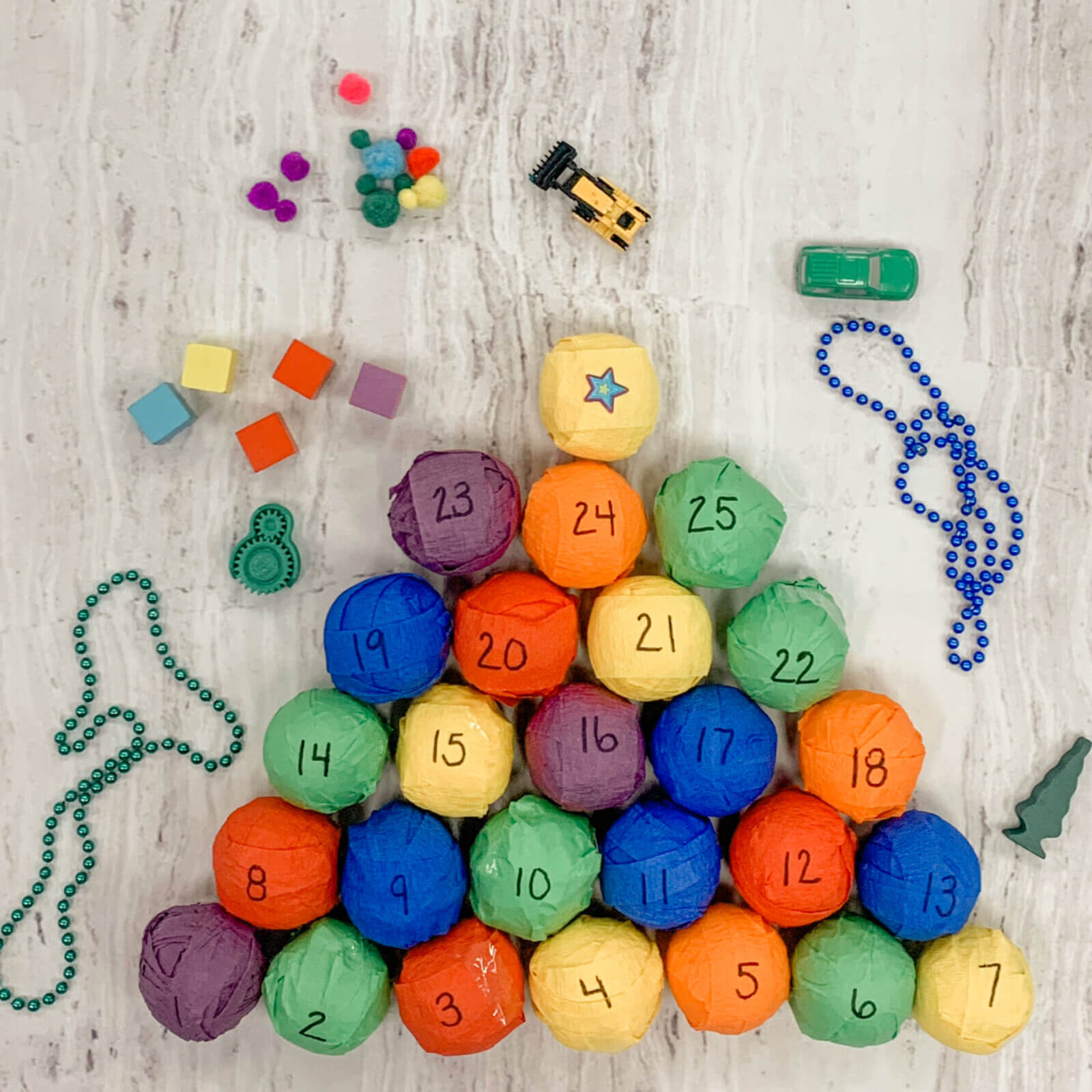 Colorful wrapped gifts for easy fine motor advent calendar