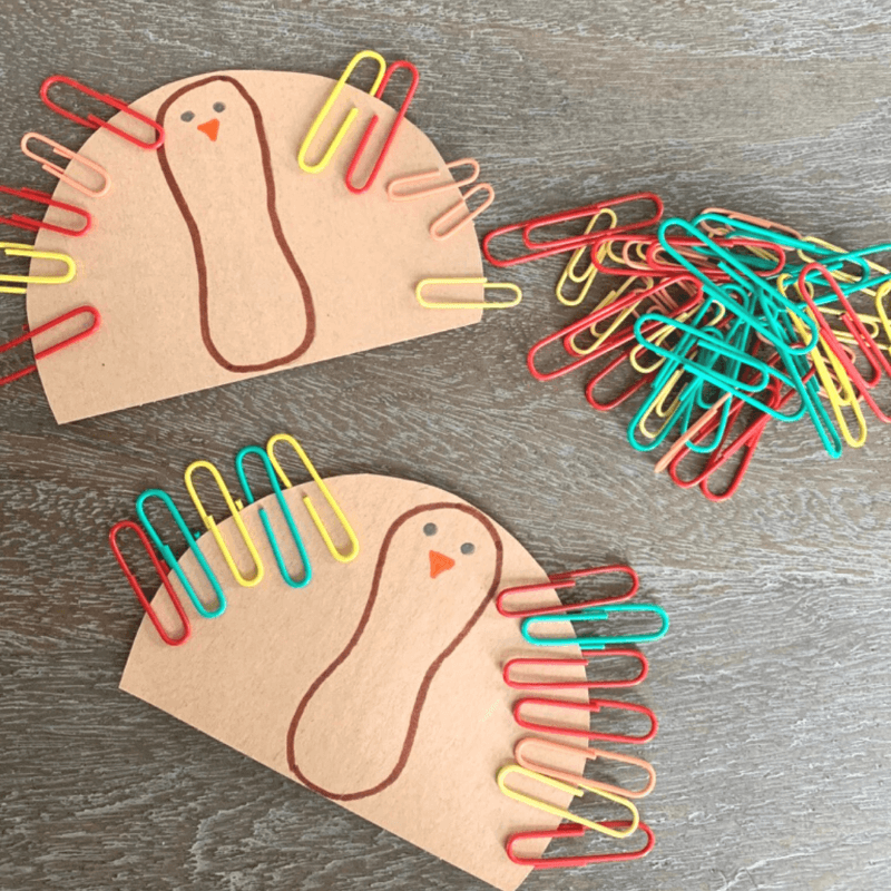 paperclip turkey craft for preschoolers