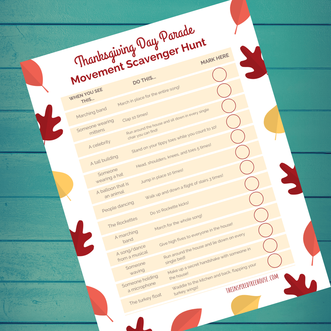 printable movement scavenger hunt for thanksgiving day parade