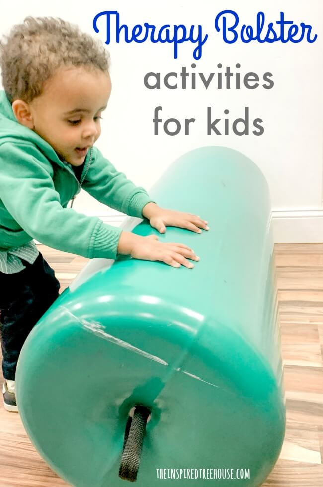 Child pushing therapy bolster.
