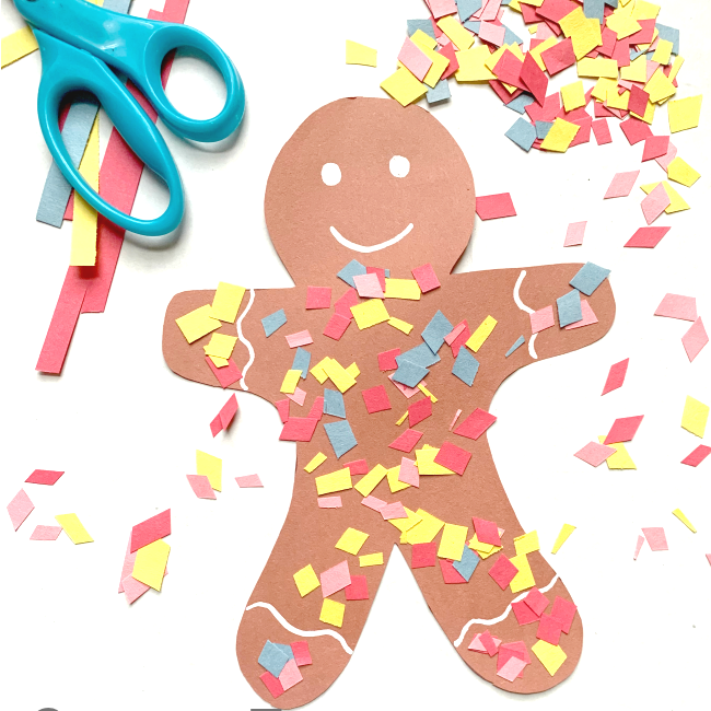 gingerbread craft with construction paper and scissors