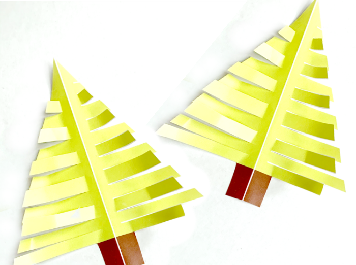 Christmas tree templates snipped on branches