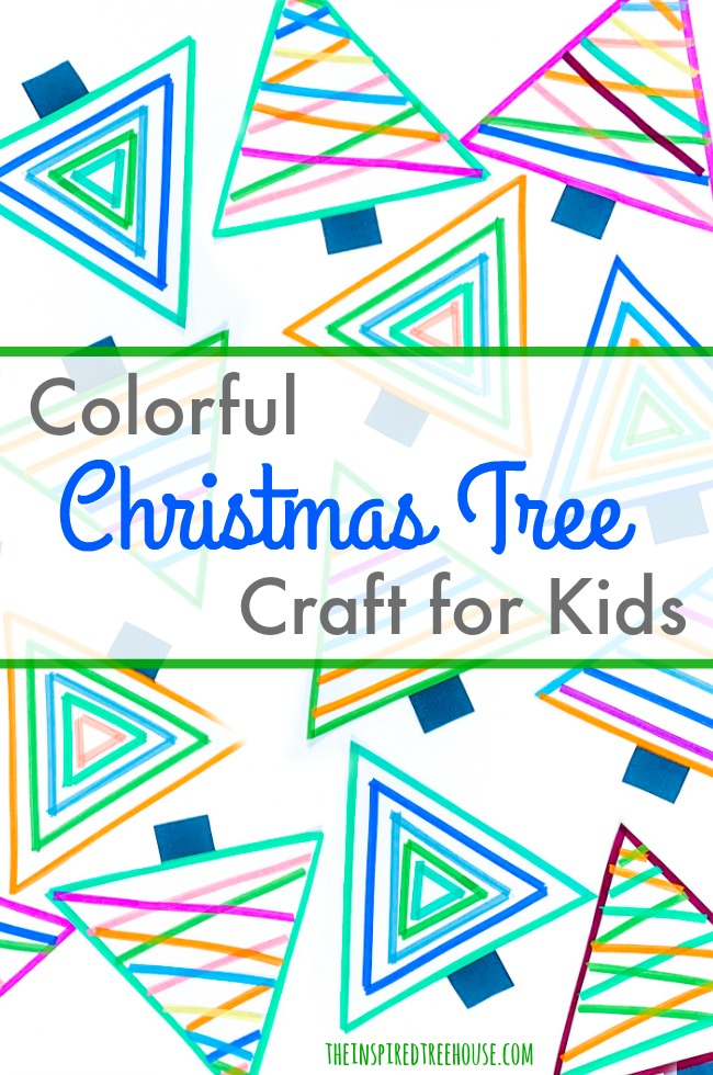 colorful christmas tree art project for kids using tape