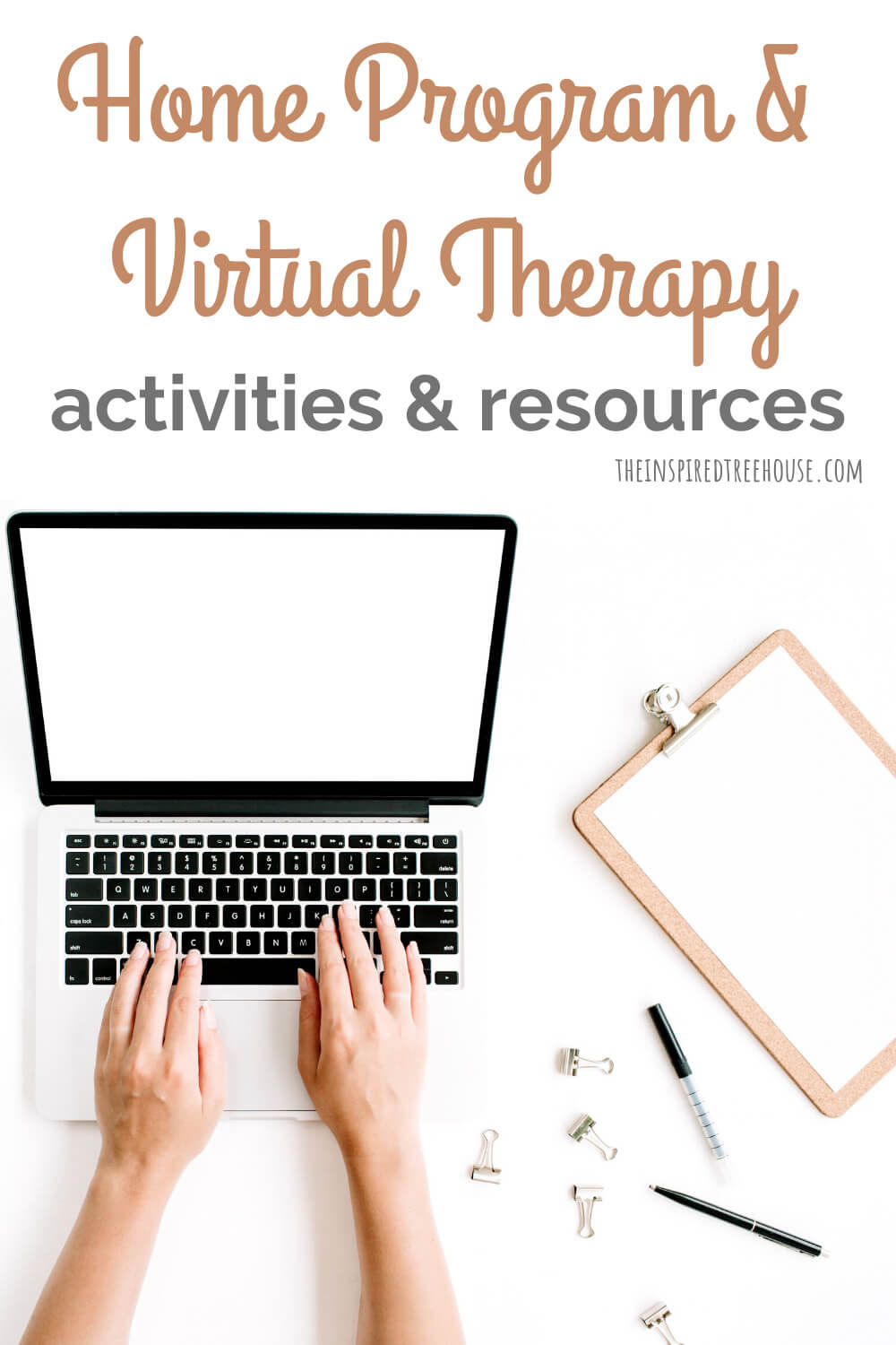Hands on computer for virtual therapy session
