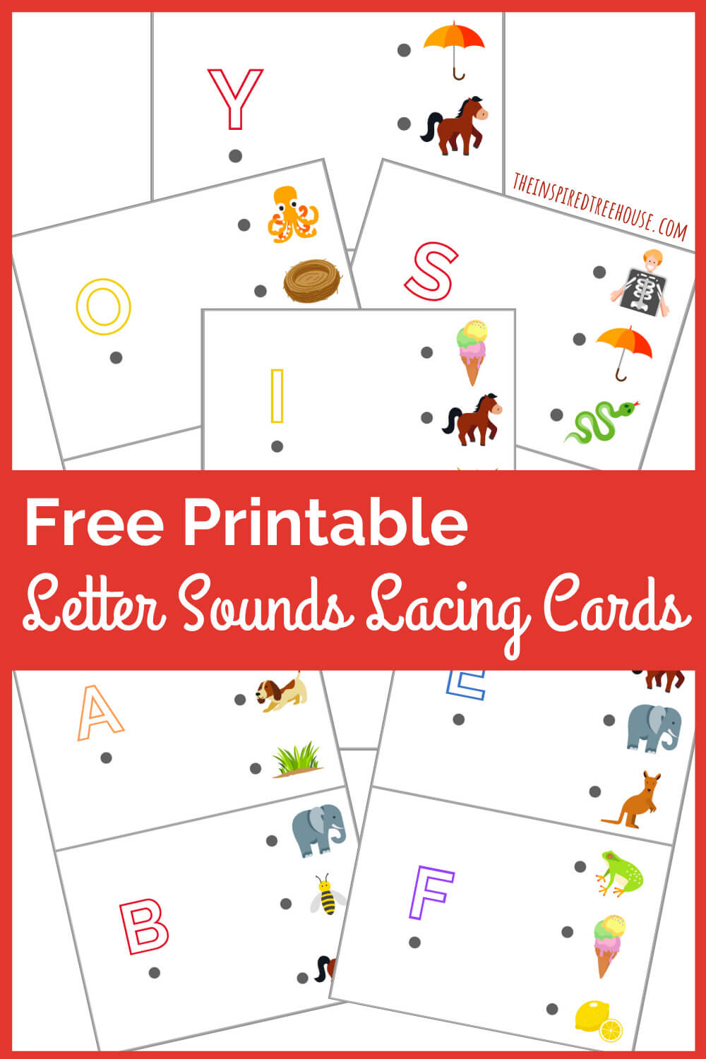 Free printable lacing cards with letters and colorful pictures