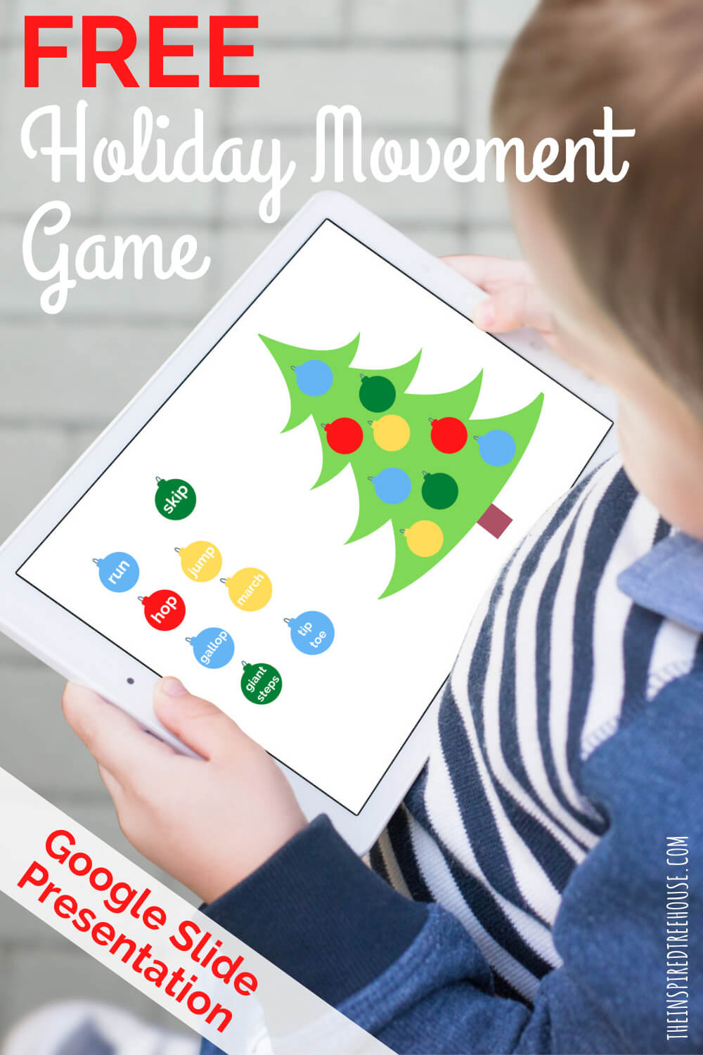 child holding tablet with christmas movement game on screen